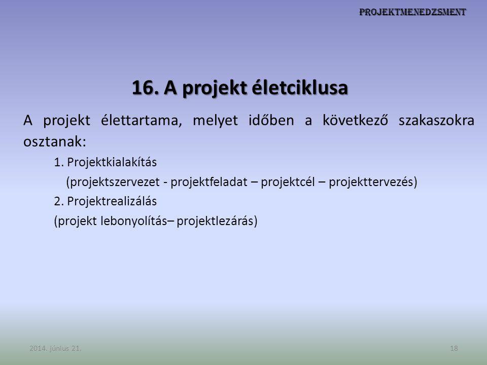 A projekt élettartama, melyet időben a következő szakaszokra osztanak:
