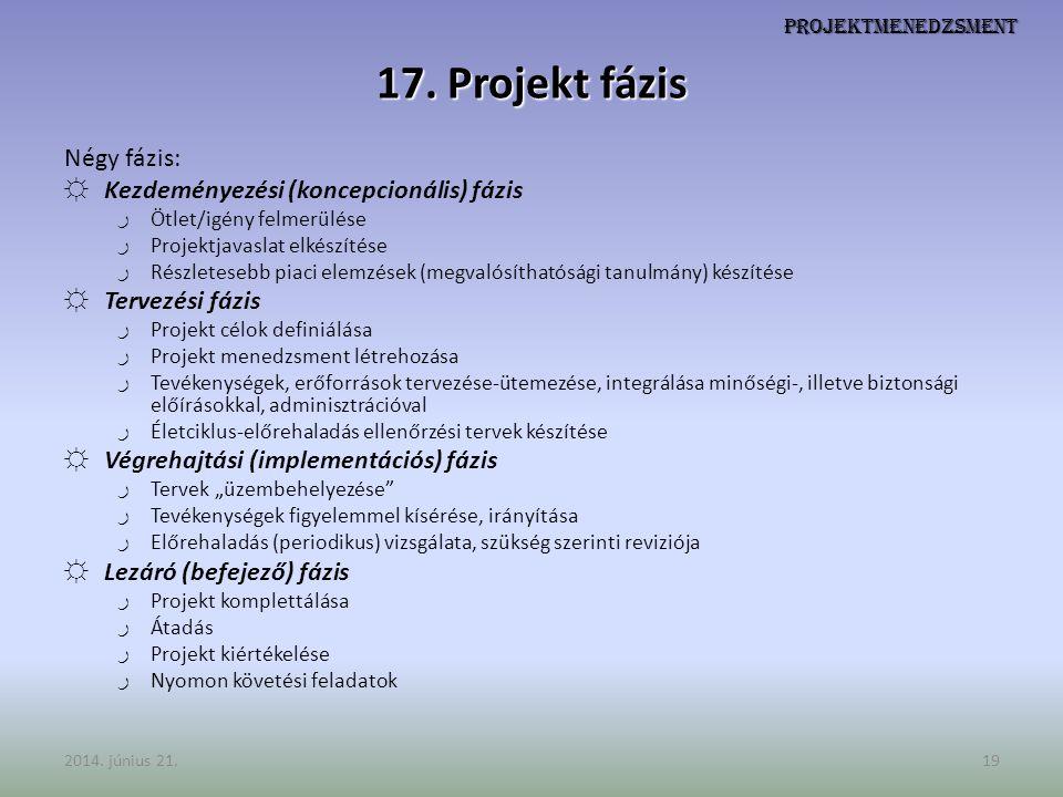 17. Projekt fázis Négy fázis: Kezdeményezési (koncepcionális) fázis