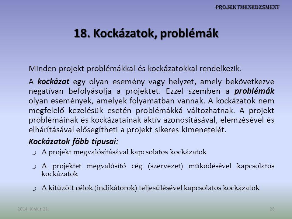 Minden projekt problémákkal és kockázatokkal rendelkezik.