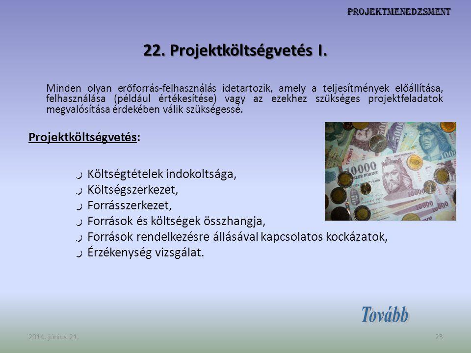 22. Projektköltségvetés I.