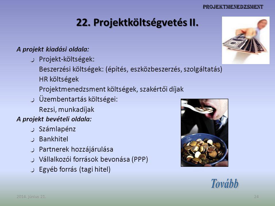 22. Projektköltségvetés II.
