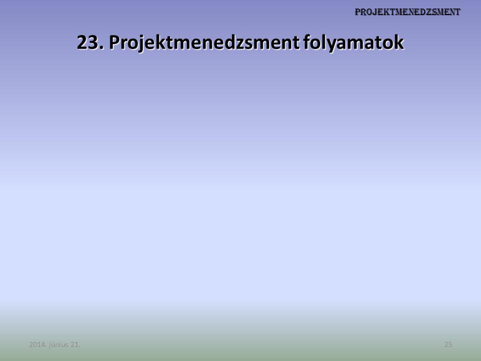 23. Projektmenedzsment folyamatok