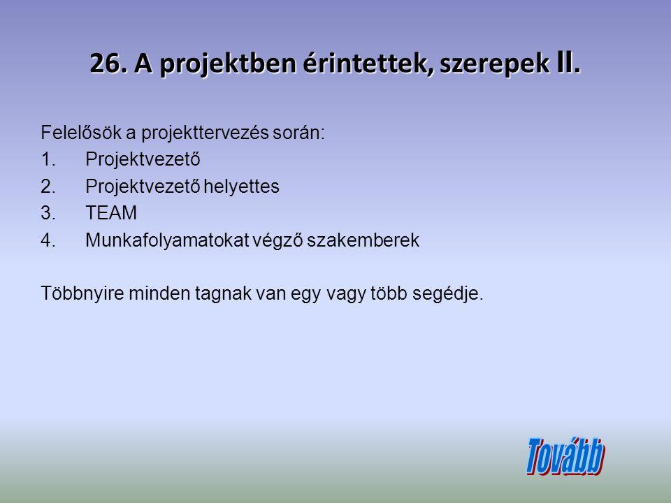 26. A projektben érintettek, szerepek II.