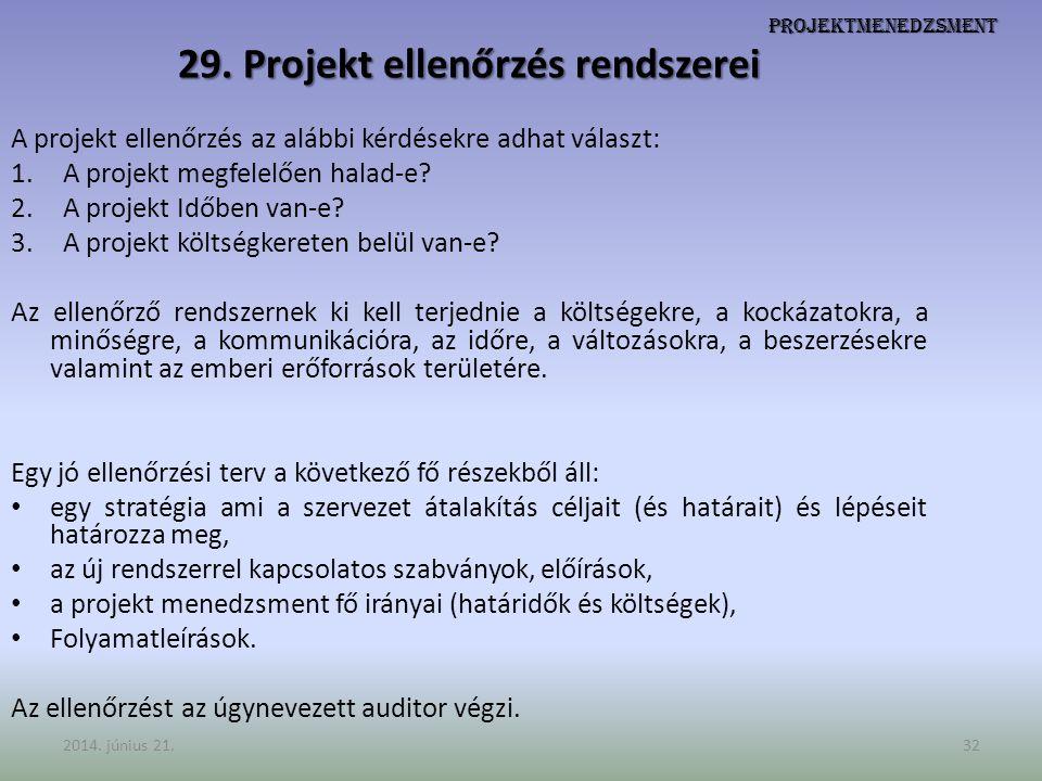 29. Projekt ellenőrzés rendszerei