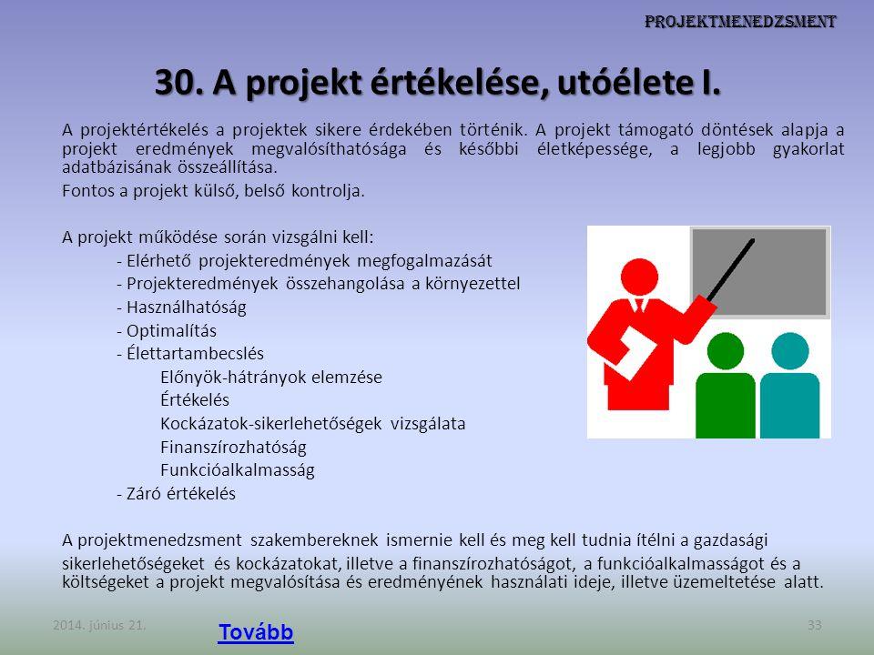 30. A projekt értékelése, utóélete I.