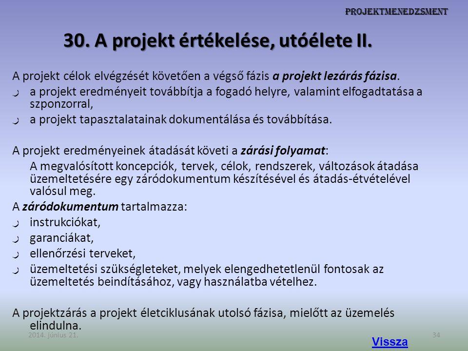 30. A projekt értékelése, utóélete II.