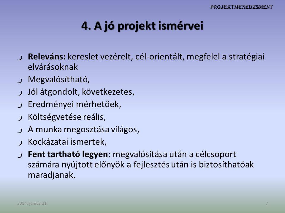 Projektmenedzsment 4. A jó projekt ismérvei. Releváns: kereslet vezérelt, cél-orientált, megfelel a stratégiai elvárásoknak.