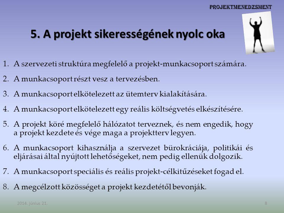 5. A projekt sikerességének nyolc oka