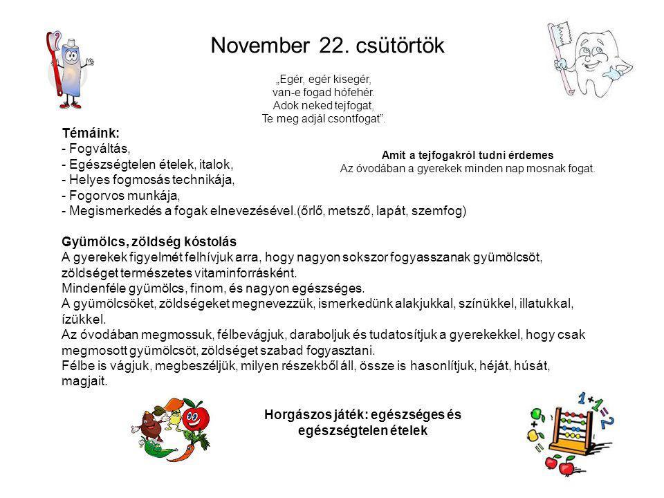 November 22. csütörtök Témáink: - Fogváltás,