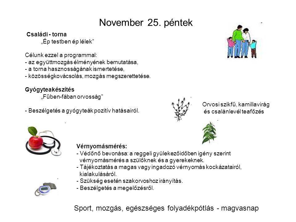 """November 25. péntek Családi - torna """"Ép testben ép lélek Célunk ezzel a programmal: - az együttmozgás élményének bemutatása,"""