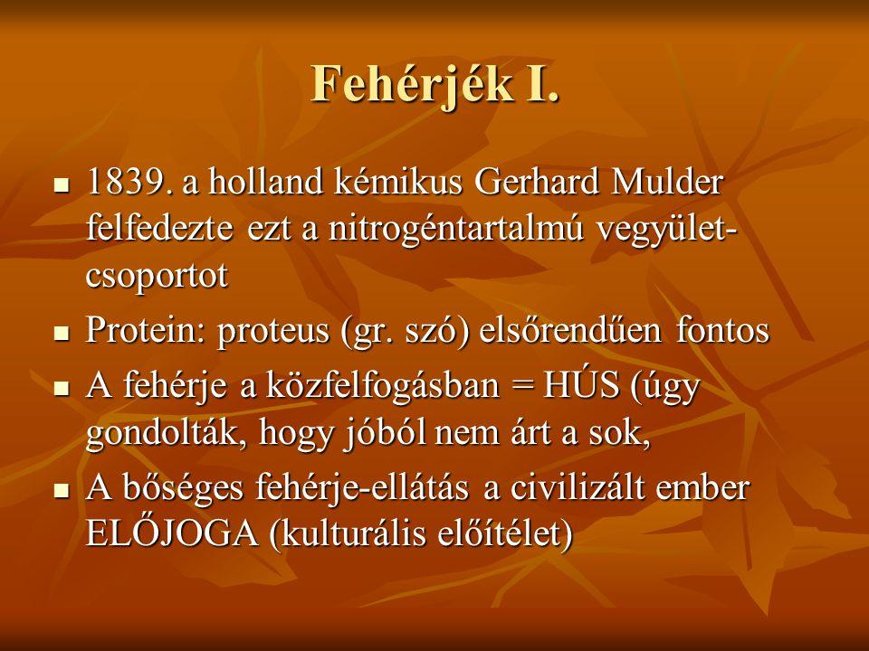 Fehérjék I. 1839. a holland kémikus Gerhard Mulder felfedezte ezt a nitrogéntartalmú vegyület-csoportot.