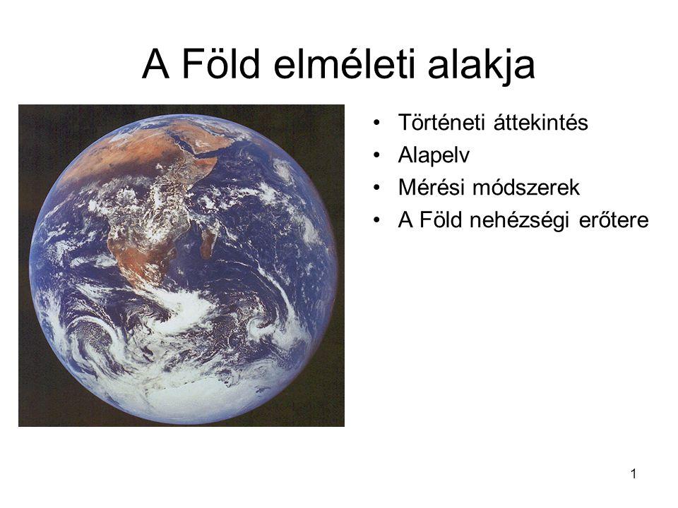 A Föld elméleti alakja Történeti áttekintés Alapelv Mérési módszerek
