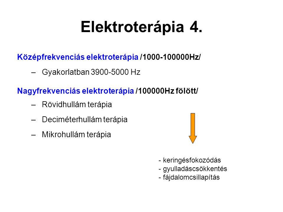 Elektroterápia 4. Középfrekvenciás elektroterápia /1000-100000Hz/