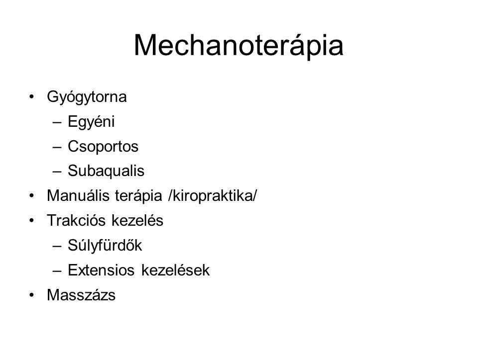 Mechanoterápia Gyógytorna Egyéni Csoportos Subaqualis