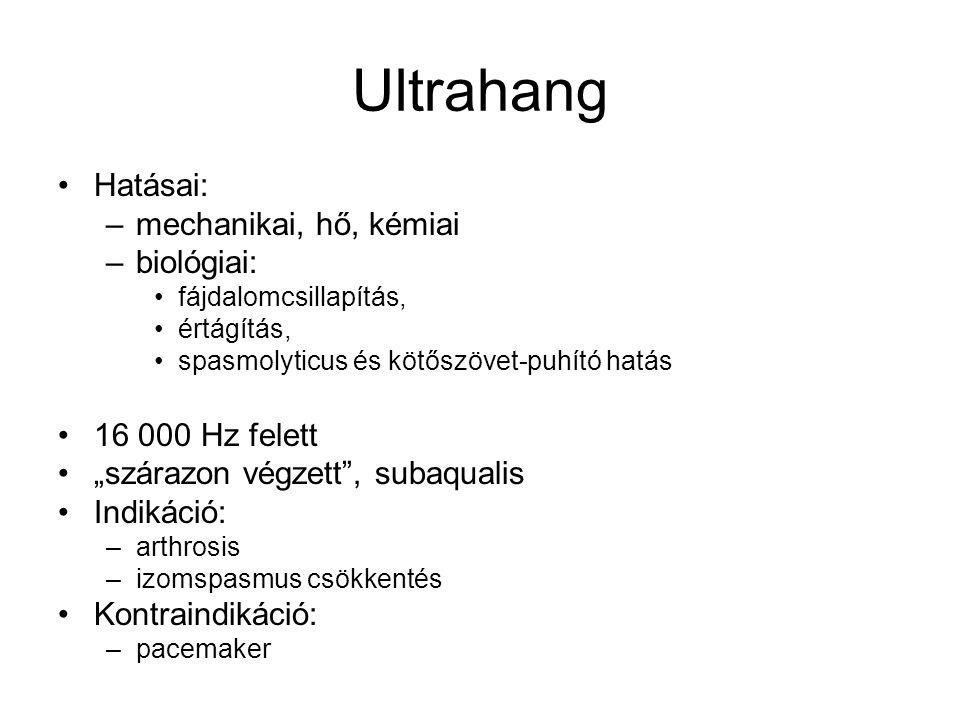 Ultrahang Hatásai: mechanikai, hő, kémiai biológiai: 16 000 Hz felett