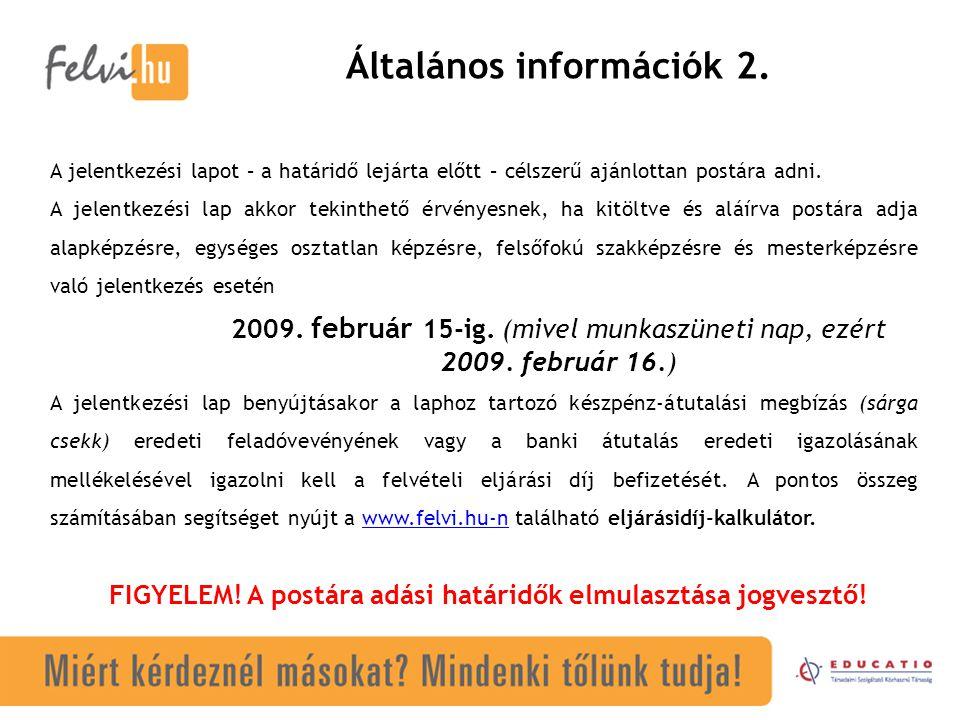 Általános információk 2.