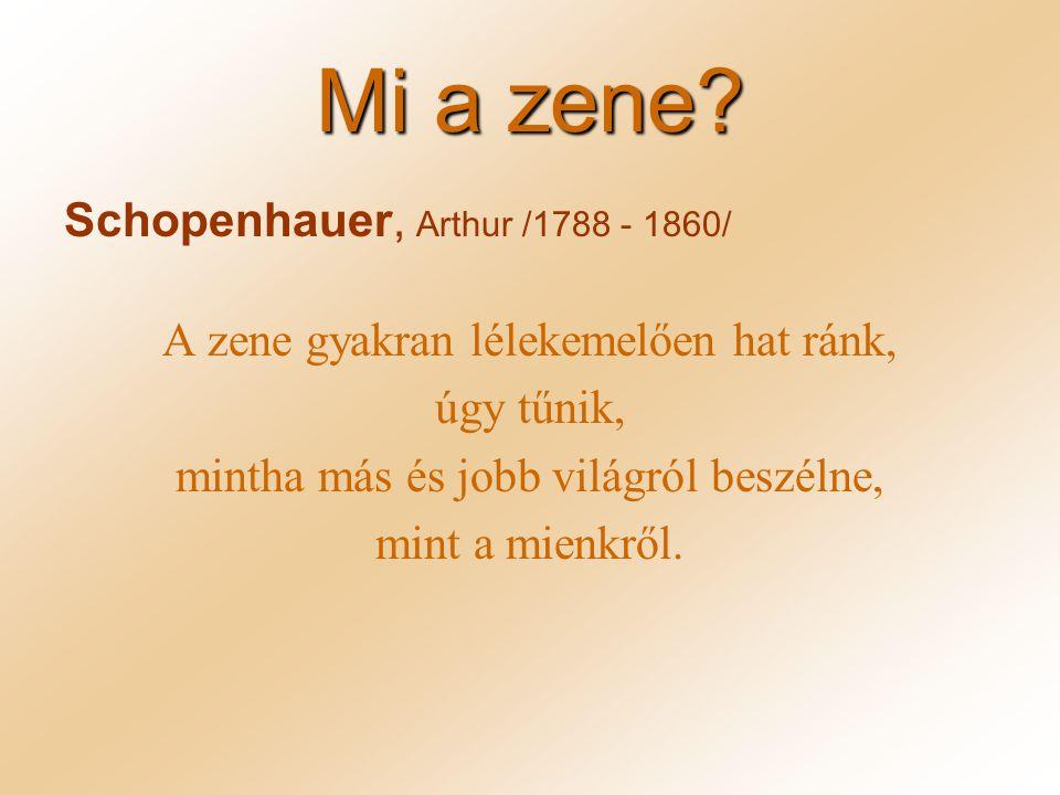Mi a zene Schopenhauer, Arthur /1788 - 1860/