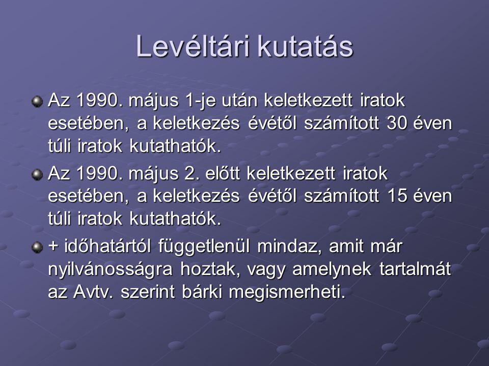 Levéltári kutatás Az 1990. május 1-je után keletkezett iratok esetében, a keletkezés évétől számított 30 éven túli iratok kutathatók.