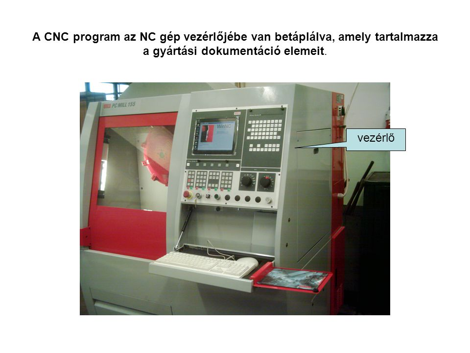 A CNC program az NC gép vezérlőjébe van betáplálva, amely tartalmazza a gyártási dokumentáció elemeit.