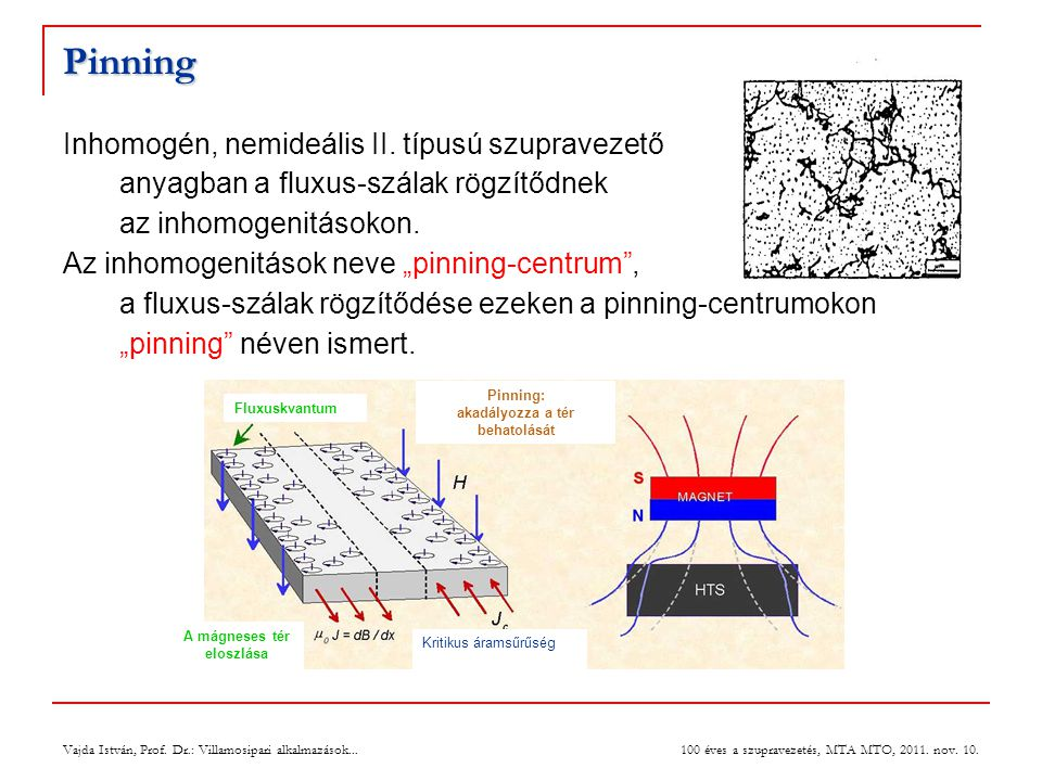Pinning: akadályozza a tér behatolását A mágneses tér eloszlása