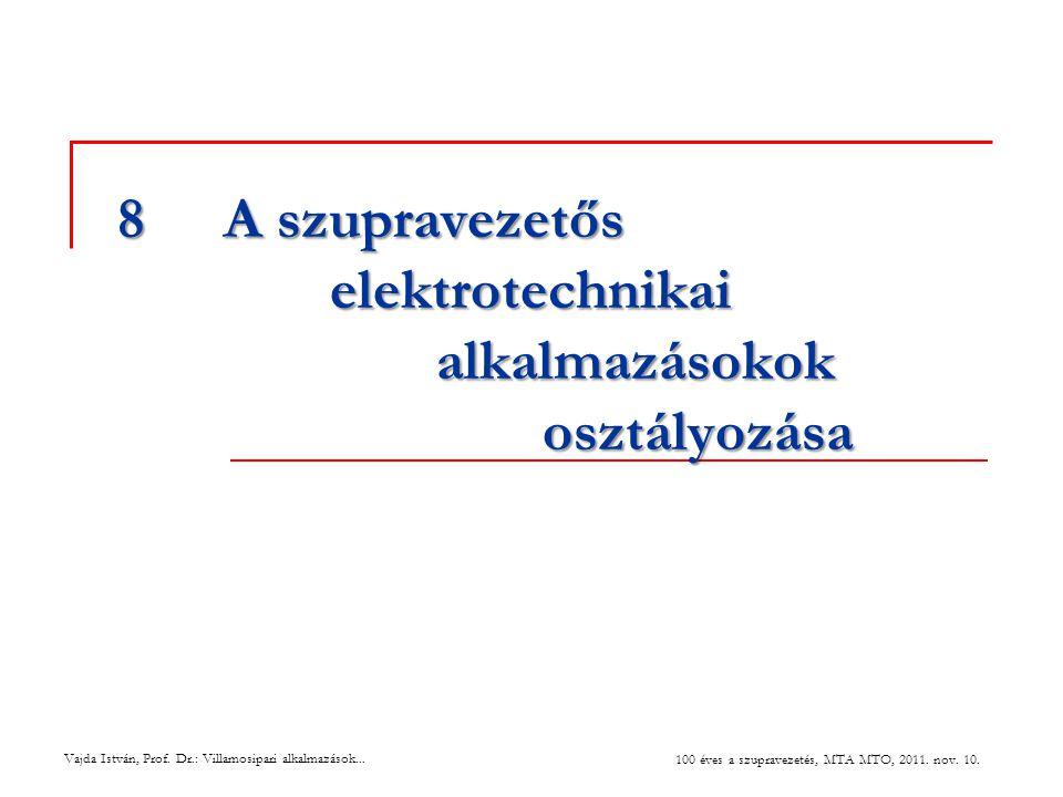 8 A szupravezetős elektrotechnikai alkalmazásokok osztályozása