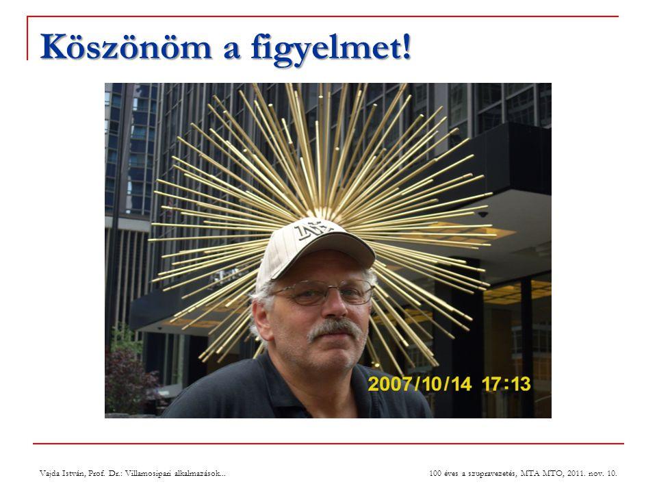 Köszönöm a figyelmet. Vajda István, Prof. Dr.: Villamosipari alkalmazások...