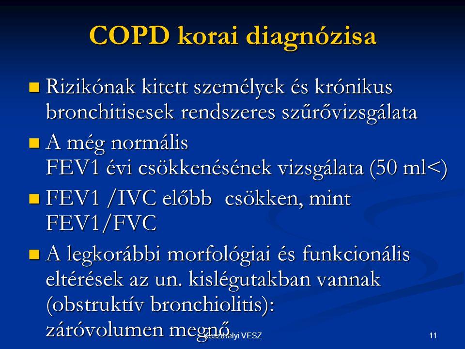 COPD korai diagnózisa Rizikónak kitett személyek és krónikus bronchitisesek rendszeres szűrővizsgálata.