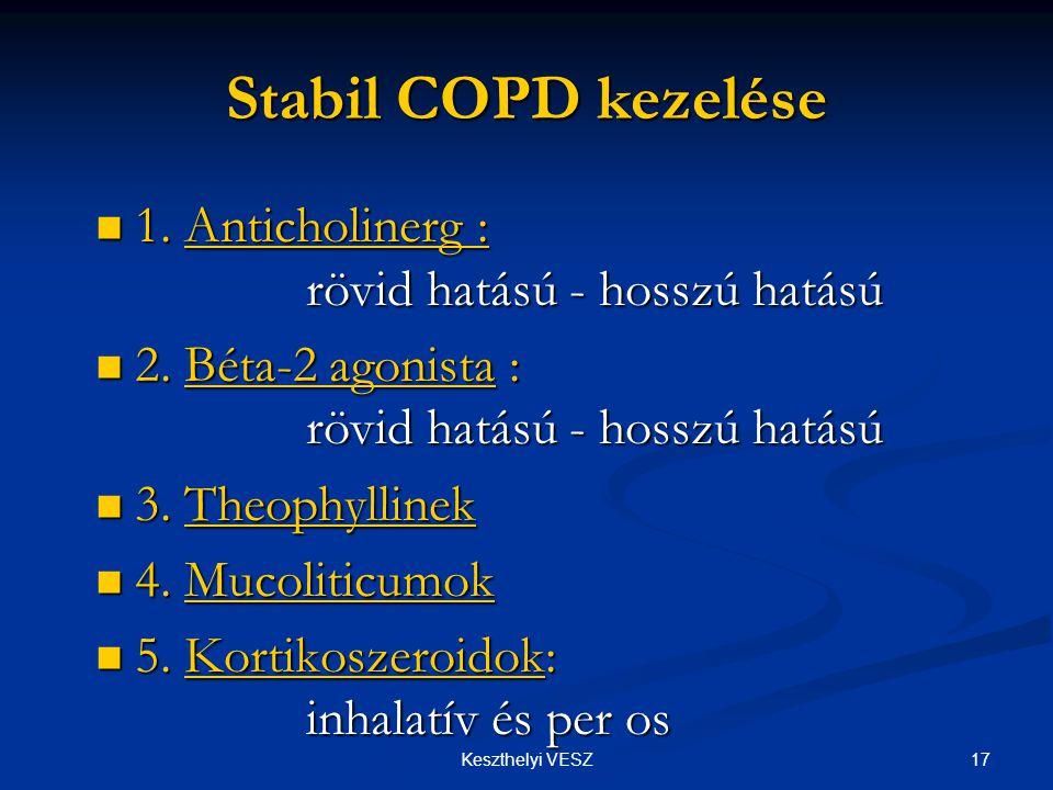 Stabil COPD kezelése 1. Anticholinerg : rövid hatású - hosszú hatású