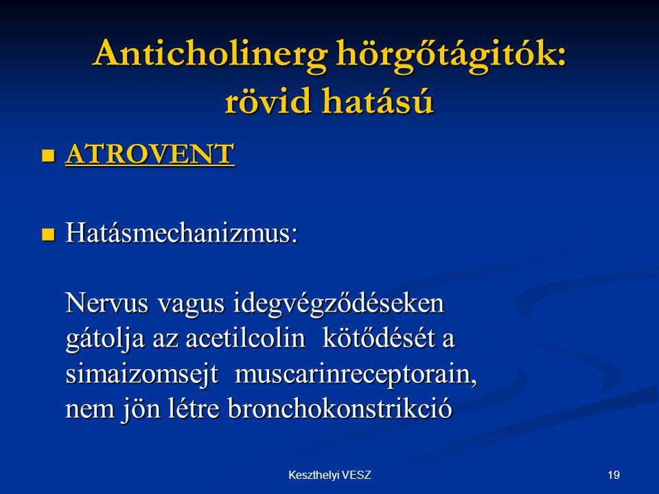 Anticholinerg hörgőtágitók: rövid hatású