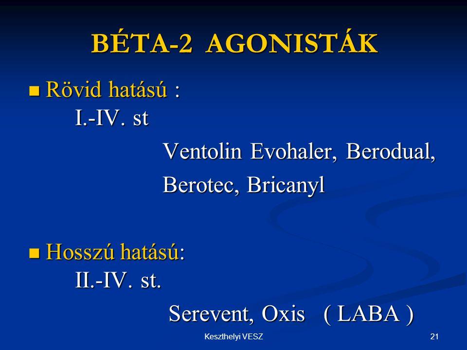 BÉTA-2 AGONISTÁK Rövid hatású : I.-IV. st Ventolin Evohaler, Berodual,