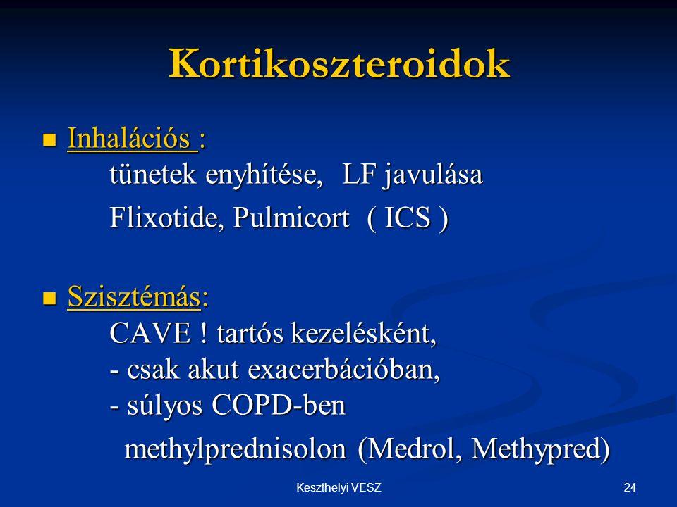 Kortikoszteroidok Inhalációs : tünetek enyhítése, LF javulása
