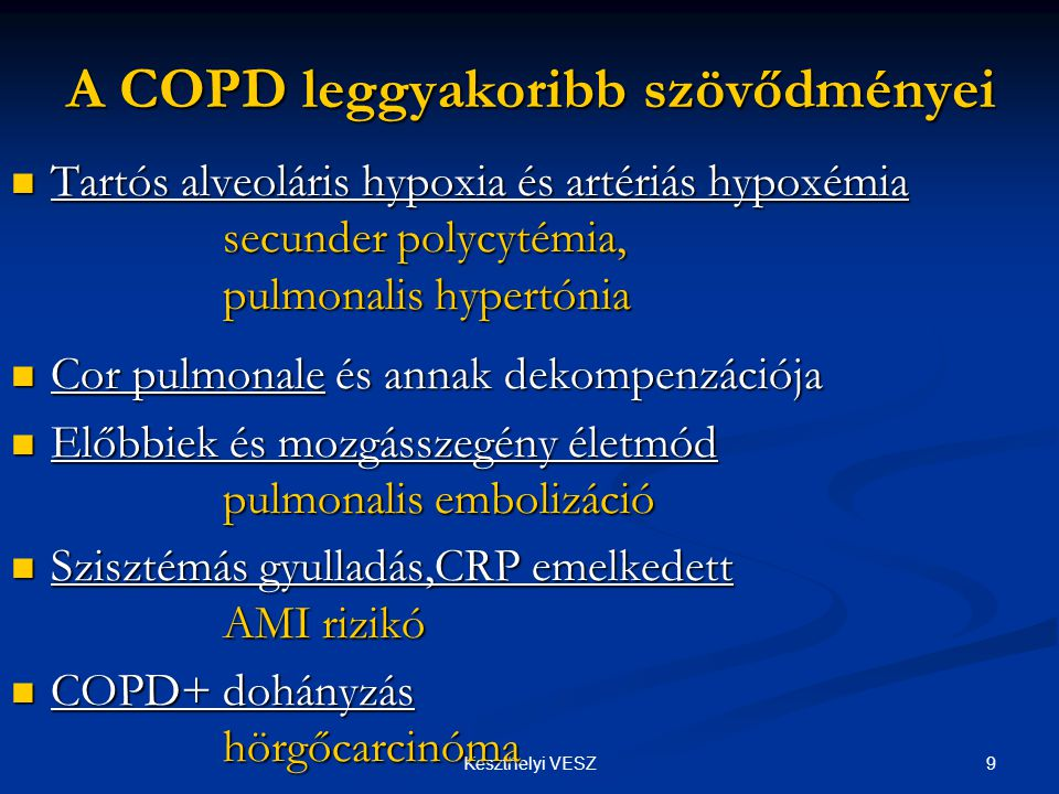 A COPD leggyakoribb szövődményei