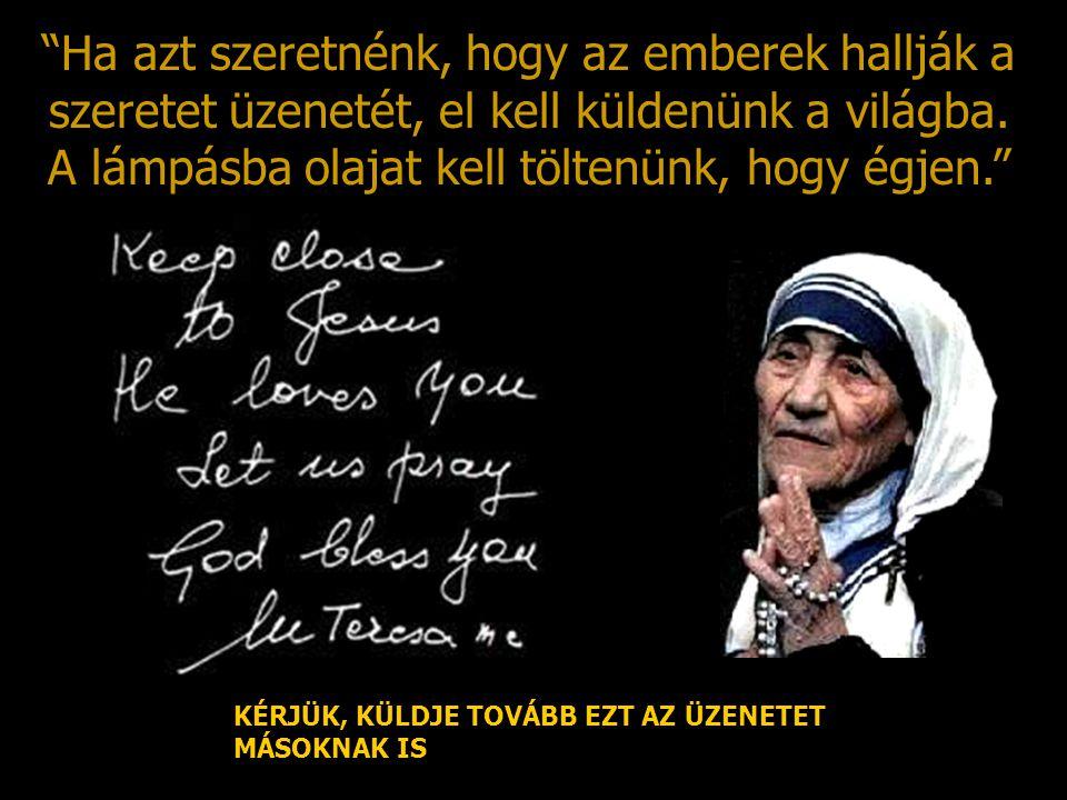 Ha azt szeretnénk, hogy az emberek hallják a szeretet üzenetét, el kell küldenünk a világba. A lámpásba olajat kell töltenünk, hogy égjen.