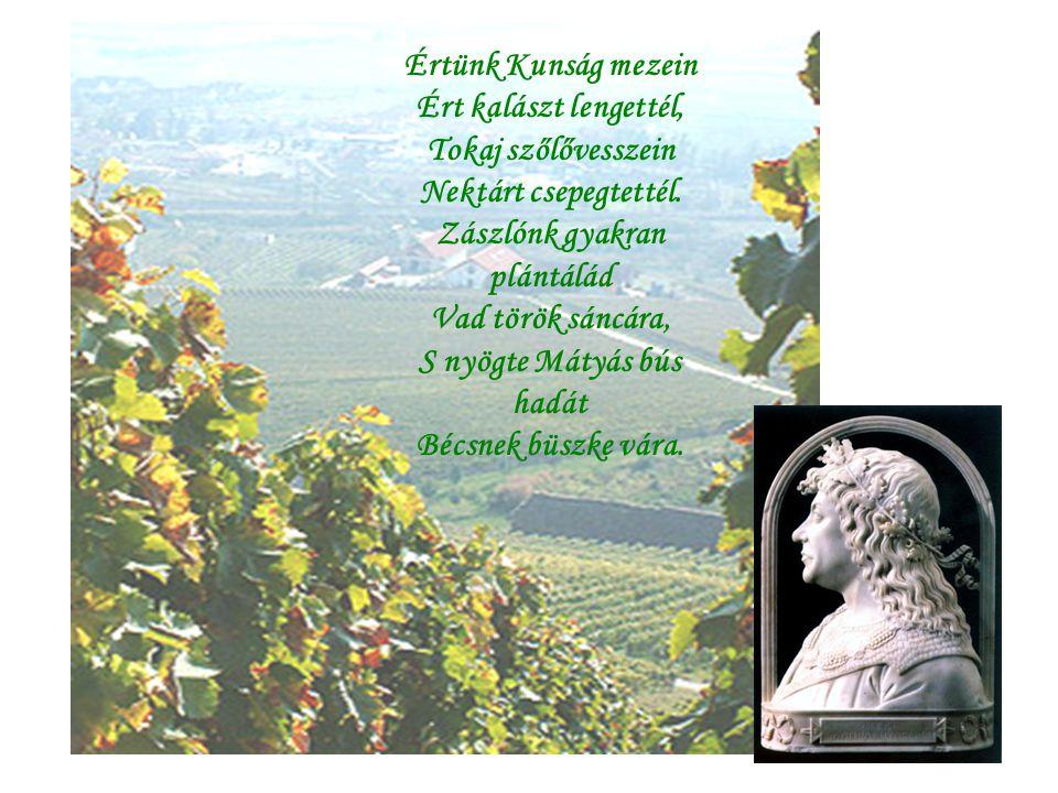 Értünk Kunság mezein Ért kalászt lengettél, Tokaj szőlővesszein Nektárt csepegtettél.