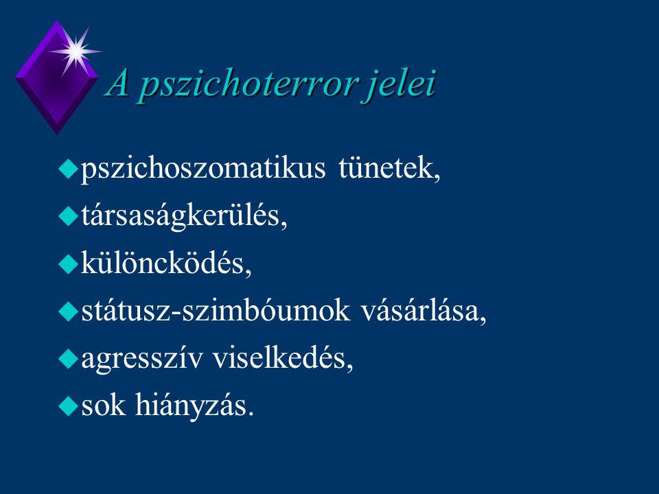 A pszichoterror jelei pszichoszomatikus tünetek, társaságkerülés,