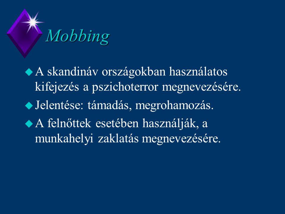 Mobbing A skandináv országokban használatos kifejezés a pszichoterror megnevezésére. Jelentése: támadás, megrohamozás.