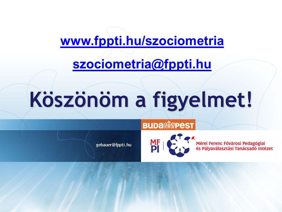 Köszönöm a figyelmet! www.fppti.hu/szociometria szociometria@fppti.hu