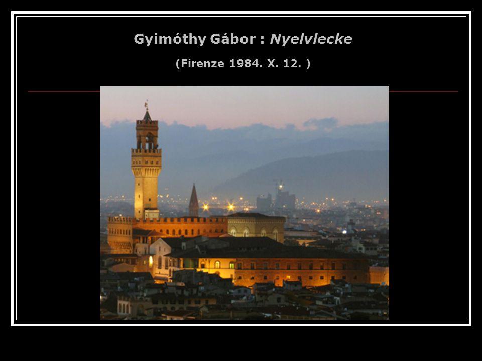 Gyimóthy Gábor : Nyelvlecke (Firenze 1984. X. 12. )