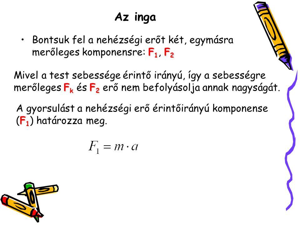 Az inga Bontsuk fel a nehézségi erőt két, egymásra merőleges komponensre: F1, F2.