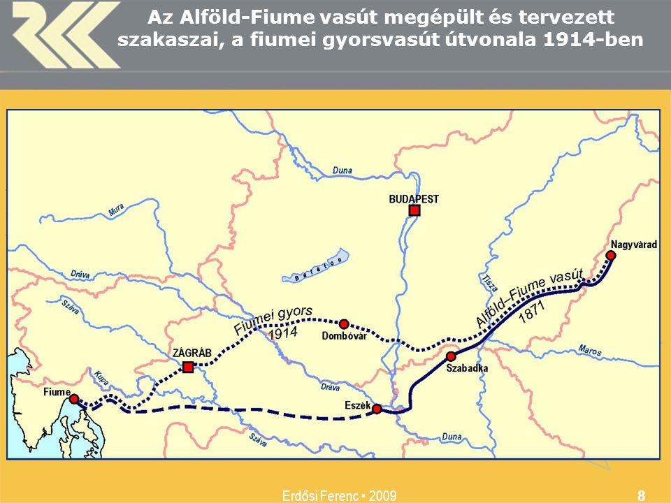 Az Alföld-Fiume vasút megépült és tervezett szakaszai, a fiumei gyorsvasút útvonala 1914-ben