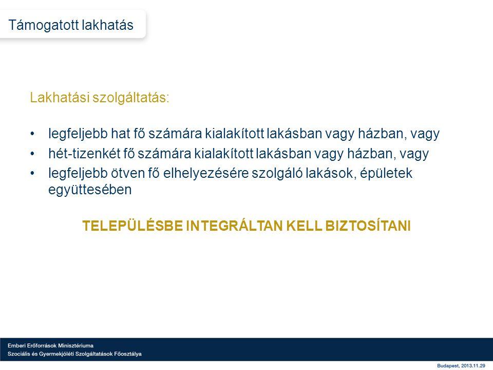 TELEPÜLÉSBE INTEGRÁLTAN KELL BIZTOSÍTANI