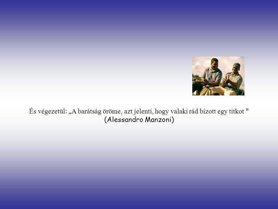 """És végezetül: """"A barátság öröme, azt jelenti, hogy valaki rád bízott egy titkot (Alessandro Manzoni)"""