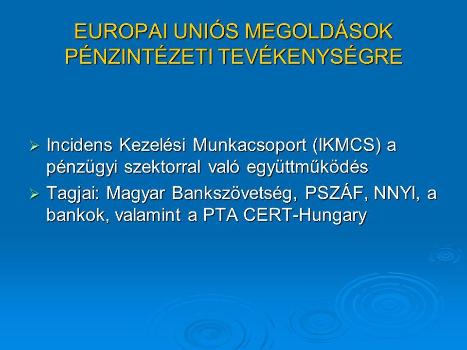 EUROPAI UNIÓS MEGOLDÁSOK PÉNZINTÉZETI TEVÉKENYSÉGRE