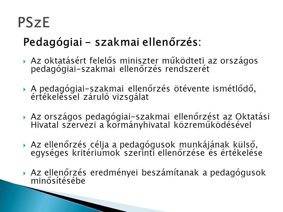 PSzE Pedagógiai - szakmai ellenőrzés: