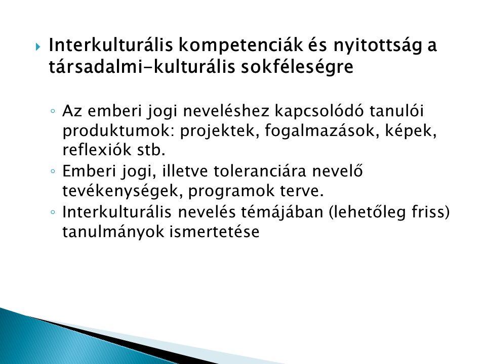 Interkulturális kompetenciák és nyitottság a társadalmi-kulturális sokféleségre
