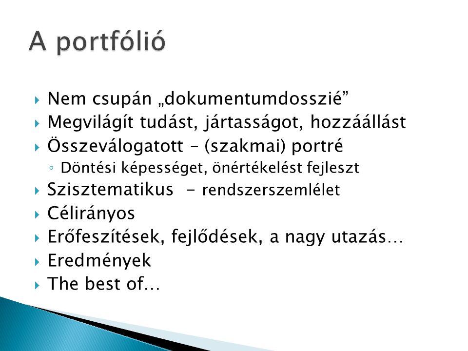 """A portfólió Nem csupán """"dokumentumdosszié"""