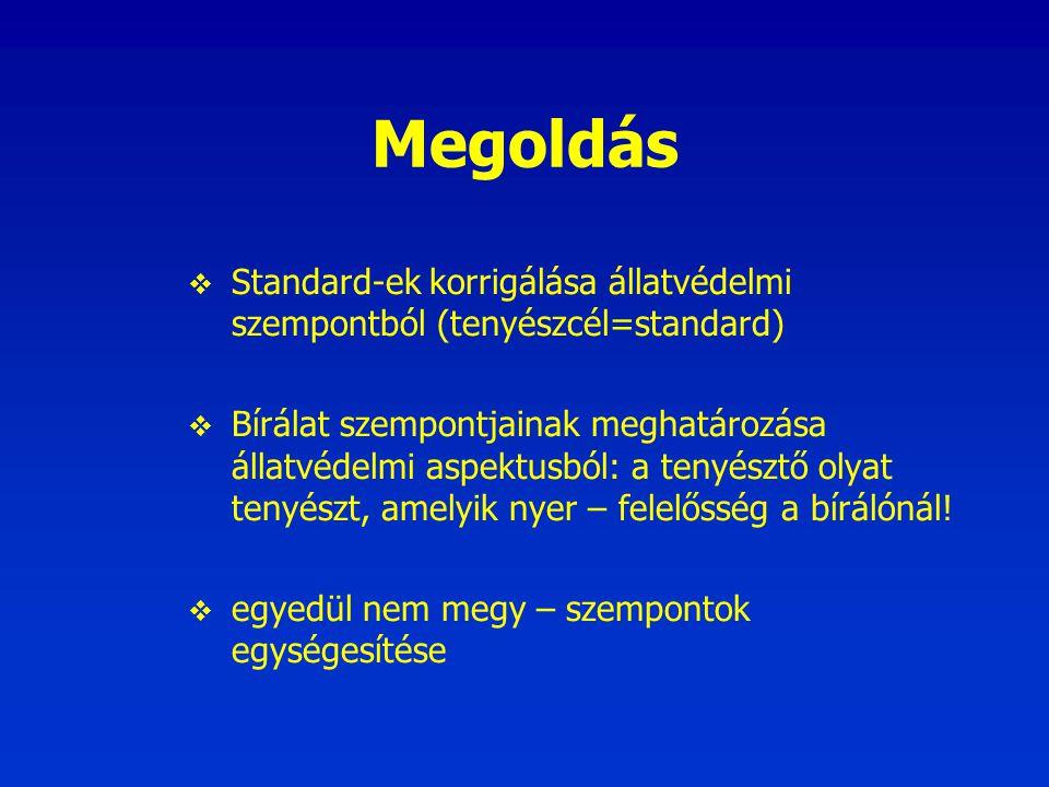 Megoldás Standard-ek korrigálása állatvédelmi szempontból (tenyészcél=standard)