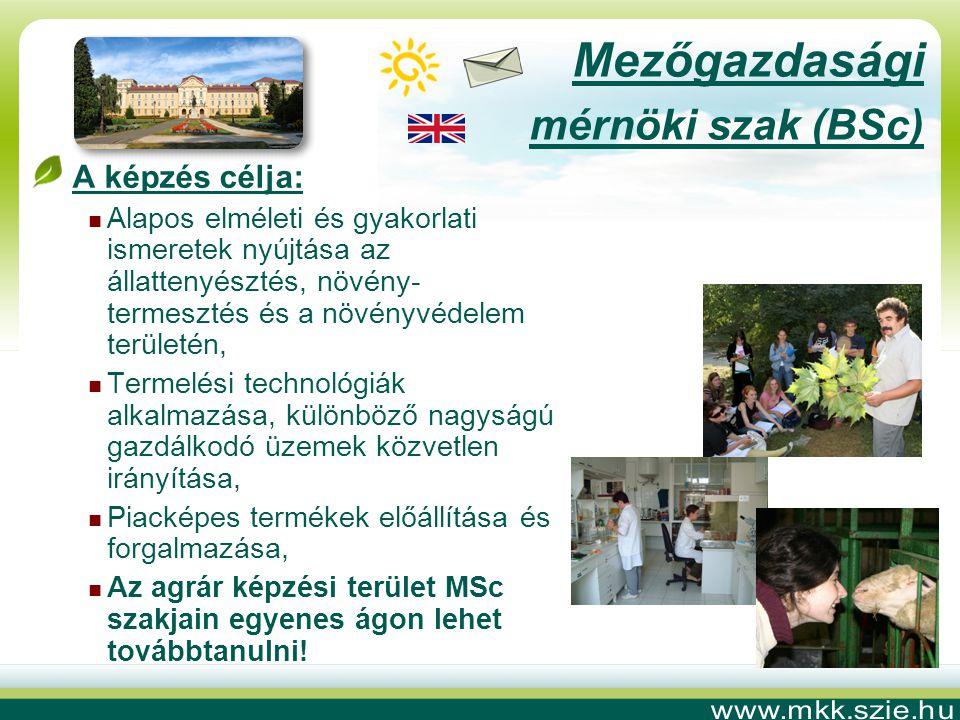 Mezőgazdasági mérnöki szak (BSc) A képzés célja: