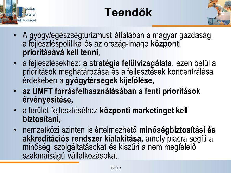 Teendők A gyógy/egészségturizmust általában a magyar gazdaság, a fejlesztéspolitika és az ország-image központi prioritásává kell tenni,