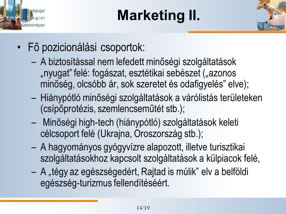 Marketing II. Fő pozicionálási csoportok: